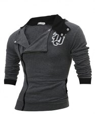 Side Zipper Design Long Sleeve Hoodie