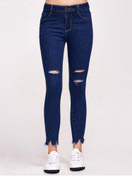 High Waist Distressed Tight Jeans -