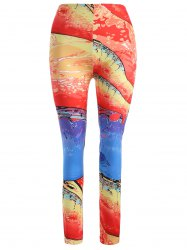 Skinny Sunset Glow Print Leggings - RED