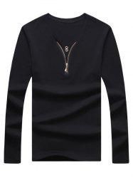 V Neck Zipper Embellished Long Sleeve Tee