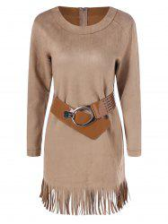 Long Sleeve Sueded Fringe Belted Dress - CAMEL