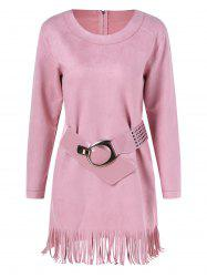 Long Sleeve Sueded Fringe Belted Dress - PINK