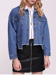 Frayed Hem Denim Jacket -