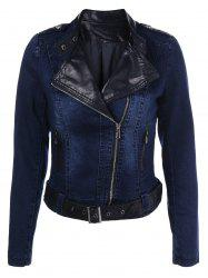 PU Leather Insert Denim Jacket -