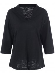 Batwing Sleeve Plus Size Tee - BLACK 5XL