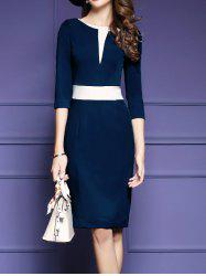 Color Block Slim  Fit Dress Vintage Pencil Dresses