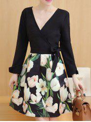 Bowknot Floral Surplice Dress