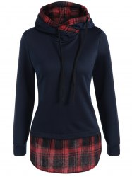 Plaid Splicing Drawstring Hoodie - PURPLISH BLUE XL