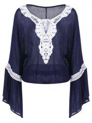 Bell Sleeve Lace Insert Blouse -