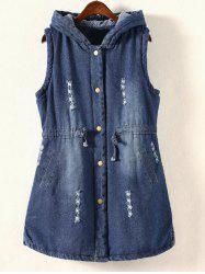 Plus Size Frayed Padded Denim Waistcoat - DENIM BLUE