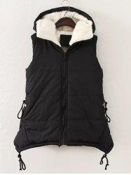 Plus Size Zipper Up Hooded Waistcoat - BLACK