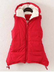 Plus Size Zipper Up Hooded Waistcoat - RED