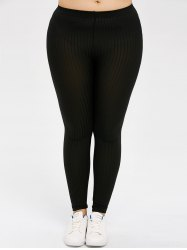 Plus Size Solid Color Skinny Leggings - BLACK