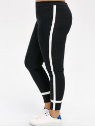 Plus Size Stripe Skinny Leggings -