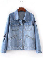 Bleach Wash Bird Embroidery Denim Jacket -