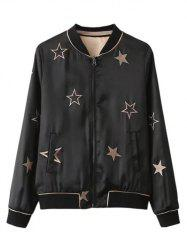 Star Embroidered Convertible Thin Bomber Jacket - BLACK