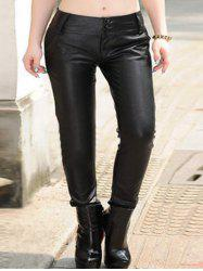 Plus Size Button Up Faux Leather Pants -