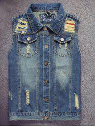 Embroidered Scratched Pocket Ripped Denim Vest