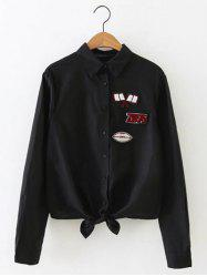 Long Sleeve Knot Front Patch Shirt - BLACK L