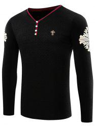 Button Embellished Contrast Trim Printed T-Shirt