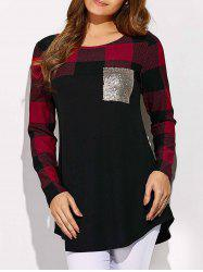 Sequined Pocket Plaid Sleeve Tee -