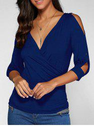 Cold Shoulder Surplice Top - DEEP BLUE