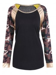 Camo Print Faux Leather Panel T-Shirt -