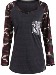 Camo Print Long Sleeve Sequined Pocket T-Shirt