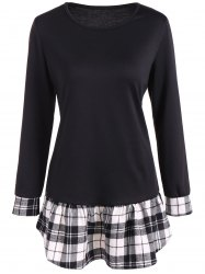 Long Sleeve Peplum Tee with Plaid Details