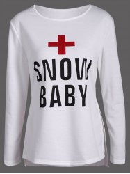 Cross Snow Baby Print Side Slit Tee - OFF-WHITE XL