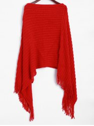 Fringed Hem Asymmetrical Poncho Sweater -