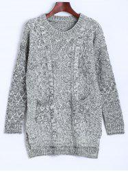 Cable Knit Asymmetrical Heathered Sweater