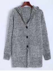 Hooded Buttoned Fuzzy Knit Cardigan -