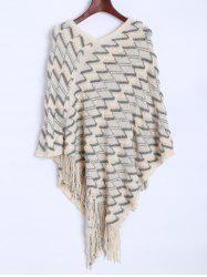 Zig Zag Fringed Asymmetrical Poncho Sweater -