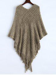Textured Fringed Asymmetrical Poncho Sweater