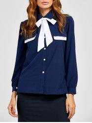 Pussy Bow Tied Neck Color Block Blouse - PURPLISH BLUE XL