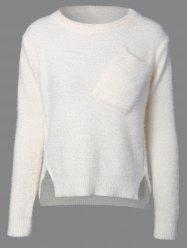 Fuzzy High Low Sweater with Pocket - WHITE ONE SIZE