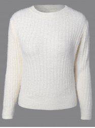 Knitted Crew Neck Fuzzy Sweater