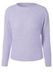 Knitted Crew Neck Fuzzy Pullover Sweater