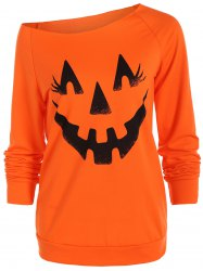 Skew Neck Pumpkin Graphic Sweatshirt
