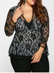 Plunge Neck Plus Size Lace Blouse - BLACK 5XL