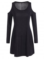 Long Sleeve Cold Shoulder Dress - BLACK