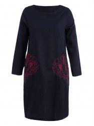 Floral Embroidered Long Sleeve Linen Shift Dress -
