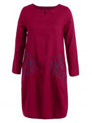 Floral Embroidered Long Sleeve Linen Shift Dress