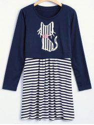 Surplice Striped Dress with Kitten Print Top -