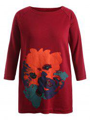 Print Long Sleeve Plus Size Dress - RED 5XL