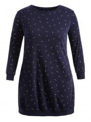 Plus Size Long Sleeve Leaf Embroidered Dress - CERULEAN 5XL