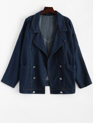 Vintage Turn-Down Neck Long Sleeve Loose-Fitting Denim Women's Jacket -