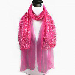 Outdoor Wintersweet Embroidery Lace Scarf