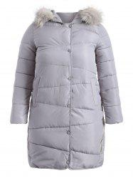 Faux Fur Hooded Fuzzy Padded Coat -